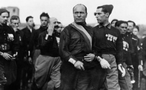 Enter Benito, democracy finito: Mussolini with Blackshirts, Rome, 1922.