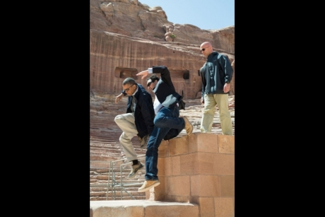 President Obama's motorcade departs ancient city of Petra in Jordan ( Official White House Photo by Chuck Kennedy )