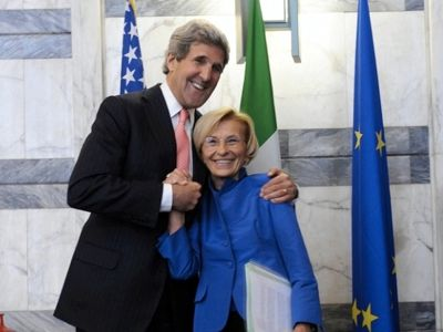Secretary of State John Kerry, the Italian Foreign Minister Emma Bonino