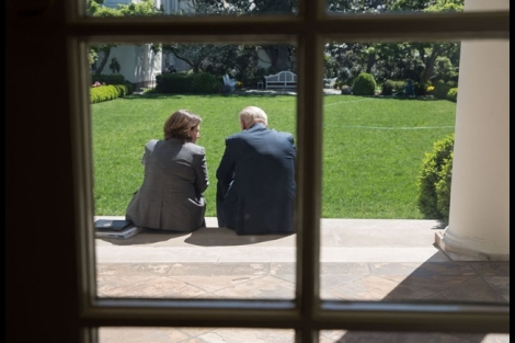 Vice President Joe Biden talks with Lisa Monaco, Assistant to the President for Homeland Security and Counterterrorism, in the Rose Garden at the White House, May 1, 2013. (Official White House Photo by Pete Souza)