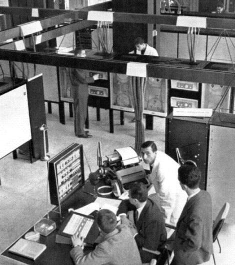 Elea 9003 in operation in the Olivetti headquarters of  in Milan.