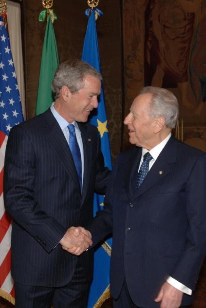 Il Presidente Carlo Azeglio Ciampi con il Presidente degli U.S.A. George W. Bush