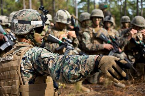Marine Corps Sgt. David Rogers passes final instructions before an assault during the Infantry Integrated Field Training Exercise Nov. 15. (U.S. Marine Corps photo by Chief Warrant Officer Paul Mancuso)