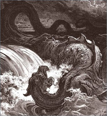 « Fa ribollire come pentola il gorgo, fa del mare come un vaso di unguenti. Nessuno sulla terra è pari a lui, fatto per non aver paura. Lo teme ogni essere più altero; egli è il re su tutte le bestie più superbe. »   (Giobbe 41)