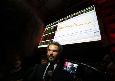 Moncler SpA Chairman Remo Ruffini speaks to journalists after a news conference to announce the company's initial public offering inside the Borsa Italiana, Italy's Stock Exchange in Milan.