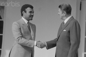 Prince Bandar bin Sultan greets President Ronald Reagan in 1983 shortly before being named ambassador to the U.S.