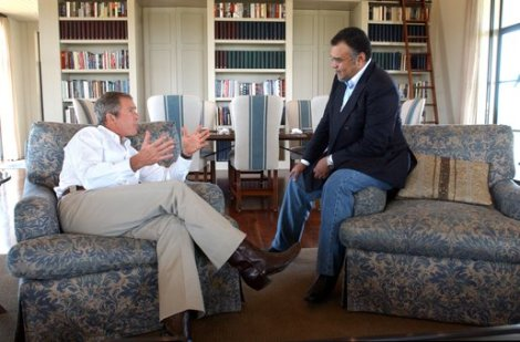 Prince Bandar with G.W. Bush in 2002
