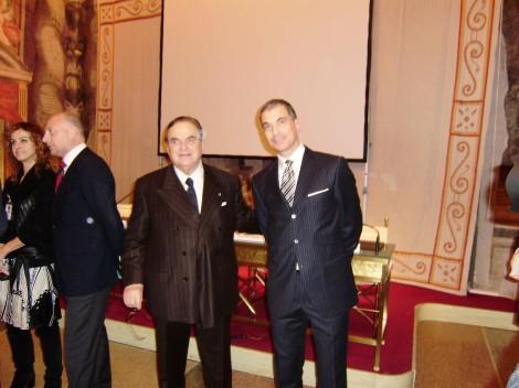 Marcello Lopez con Giancarlo Elia Valori - presso Palazzo Giustiniani - Rome, Italy.