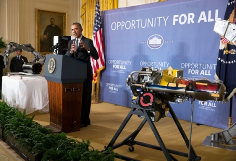 President Barack Obama delivers remarks announcing two new public-private Manufacturing Innovation Institutes, and launches the first of four new Manufacturing Innovation Institute Competitions, in the East Room of the White House, Feb. 25, 2014. (Official White House Photo by Pete Souza)
