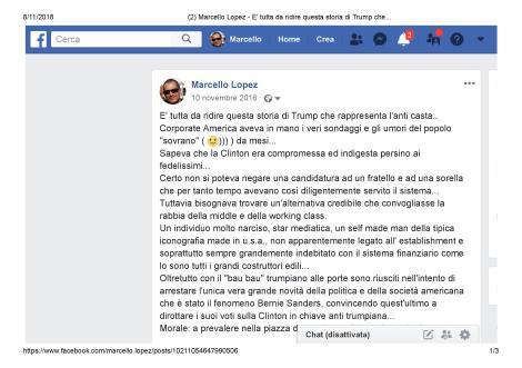 TRUMP VITTORIA PRESIDENZIALE: Prima Parte Screenshot Post su FB del 10 novembre 2016